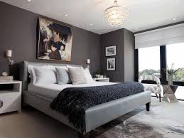 classic crystal chandelier black fur bedcover grey leather bed