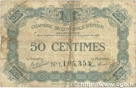 chambre du commerce epinal 50 centimes régionalisme et divers épinal 1920 jp 056 09