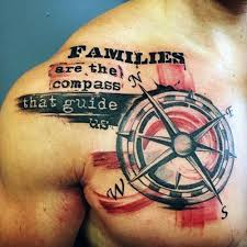 31 family tattoos for chest compass and