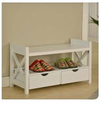 Shoe Storage With Seat Or Bench - white wood bench storage drawers shoe rack seat entryway hall