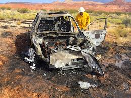 subaru fire car rolls bursts into flames after suv forces it off i 15 u2013 st