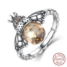 cute jewelry rings images Rings fashion cute honeybee jewelry 925 sterling silver orange jpg