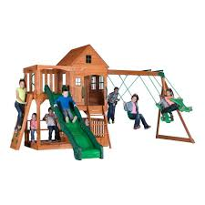 Backyard Set Backyard Discovery Pacific View All Cedar Playset 30015com The