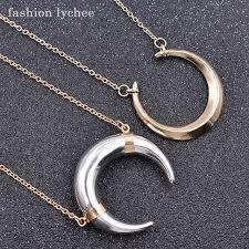 fashion necklace aliexpress images Fashion lychee elegant luna moon pendant necklace double horn jpg