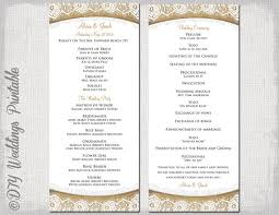 order of ceremony for wedding program rustic wedding program template burlap lace diy