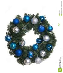 christmas wreath with silver and blue ornaments on white