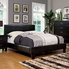 Bed Frame Set Size Winn Espresso Finish Leatherette Platform