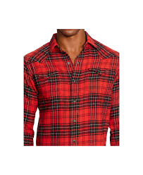 polo ralph lauren plaid twill western shirt in red for men lyst