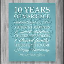 10 anniversary gift 10 years together cotton gift print 10th anniversary gifts 10 year
