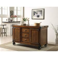 acme furniture kabili distressed tobacco kitchen cart with storage