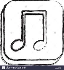 monochrome sketch of square button with musical note stock vector
