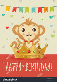 happy birthday youchinese zodiac monkey greeting stock vector