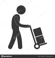 lieferung de mit hand auto lieferung boxen arbeiter abbildung piktogramm