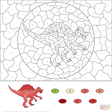 dinosaurs color number coloring pages free printable pictures