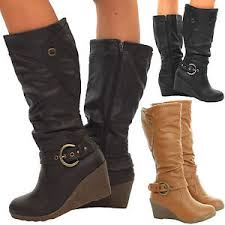 ladies brown biker boots ladies trendy knee high wedge heel black tan brown biker boots size