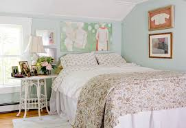 wall with frames bedroom shabby chic style with polka dot sheets