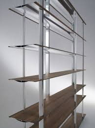 Walnut Bookshelves Modular Shelf Contemporary Walnut Aluminum Kaze By Toyo