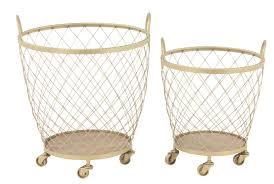 Laundry Hamper With Wheels by Gracie Oaks Modern Diamond Weave Round Metal 2 Piece Basket Set