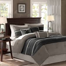 bedroom gray queen comforter sets with brown headboard and wood