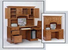 Computer Desk Cabinets Mobel Solid Oak Office Furniture Hideaway Computer Desk And Filing