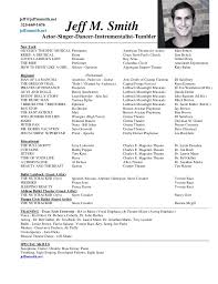musical theatre resume exles theatre resume sle paso evolist co