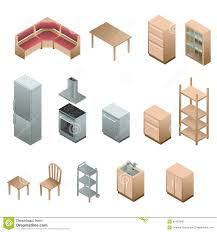 Wooden Furniture For Kitchen by Isometric Wooden Furniture For Kitchen Stock Vector Image 42467845