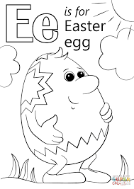 letter e is for easter egg coloring page free printable coloring