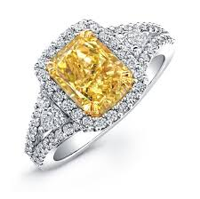 fancy yellow diamond engagement rings 18k white and yellow gold cushion cut fancy yellow diamond