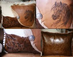 Cowhide Pillows Western Art Note Cards Cowhide Leather Pillows Coulee Designs