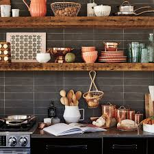 white brick wall and rustic wooden shelves for eclectic kitchen