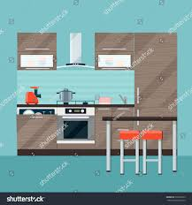 modern kitchen interior dining room vector stock vector 500279653