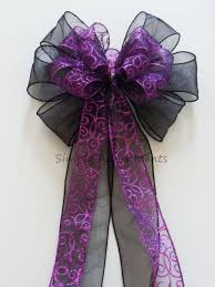 bows for gifts purple black wedding pew bow purple swirls filigree