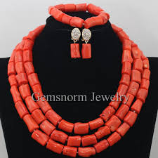 Costume Jewelry Unique Beaded Design Genuine Coral Beads Necklace Jewelry Nigerian Wedding African
