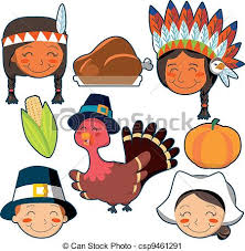 thanksgiving day faces and elements set set of vector