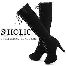 womens stretch boots size 11 shoesholic rakuten global market stretch lace up knee high