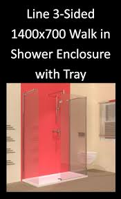 line 3 sided 1400 x 700 walk in shower enclosure with tray one line 3 sided 1400 x 700 walk in shower enclosure with tray one of the 15 different size options of 3 sided bathroom shower enclosures http www