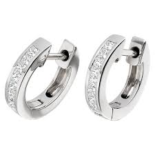 white gold earrings pair of princess cut diamond hoop earrings in 18ct white gold