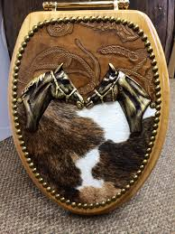 Western Furniture Amazing Cowhide U0026 Leather Western Horse Head Toilet Seat Cover