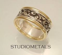 engraved mens wedding rings with gold bands unique mens wedding