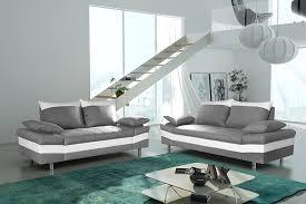 ensemble de canapé salon fixe complet 3 2 en tissu gris clair et pvc blanc biagio
