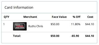 ruth s chris gift cards discount gift card for ruths chris steak house renespoints