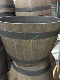 costco wine barrel planter 25 u2033 w x 14 5 u2033 h made from durable
