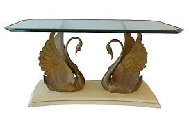 brass swan coffee table hollywood regency brass swan console modernism