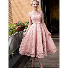 tea length dress discount glorious pink party prom dress with lace up bowknot