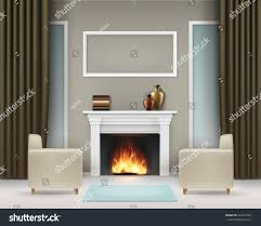 Livingroom Fireplace Vector Living Room Interior White Fireplace Stock Vector 622477667