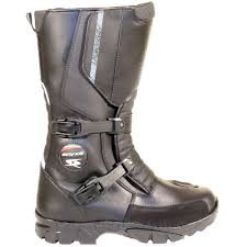spyke adventure black leather motorcycle boots