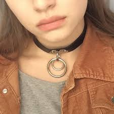 girl collar necklace images New punk rock dark harajuku double o ring leather collar choker jpg