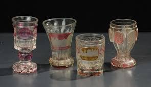 bicchieri boemia lotto di quattro bicchieri in vetro di boemia antiquariato e