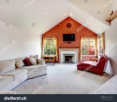 bright living room white orange wall stock photo 176526587