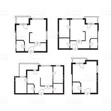 Flats Designs And Floor Plans Vector Furniture Architect Plan Of Building Set Flat Design Stock